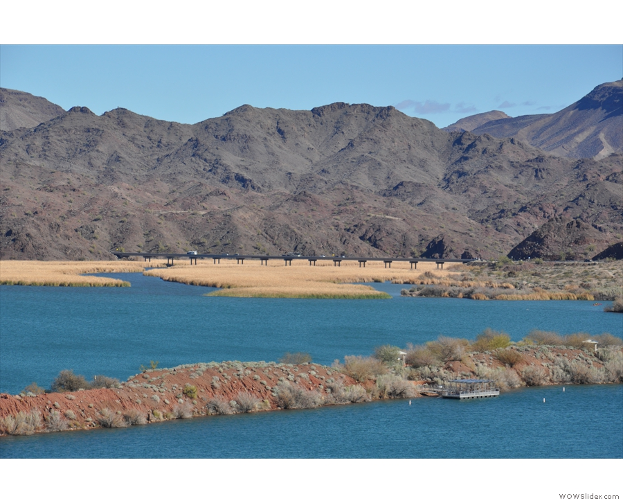Heading back, I stopped at the lake's southern end. US 95 crosses the river in the distance.