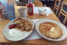 .. and I didn't mess around: eggs, home-fries and pancakes.