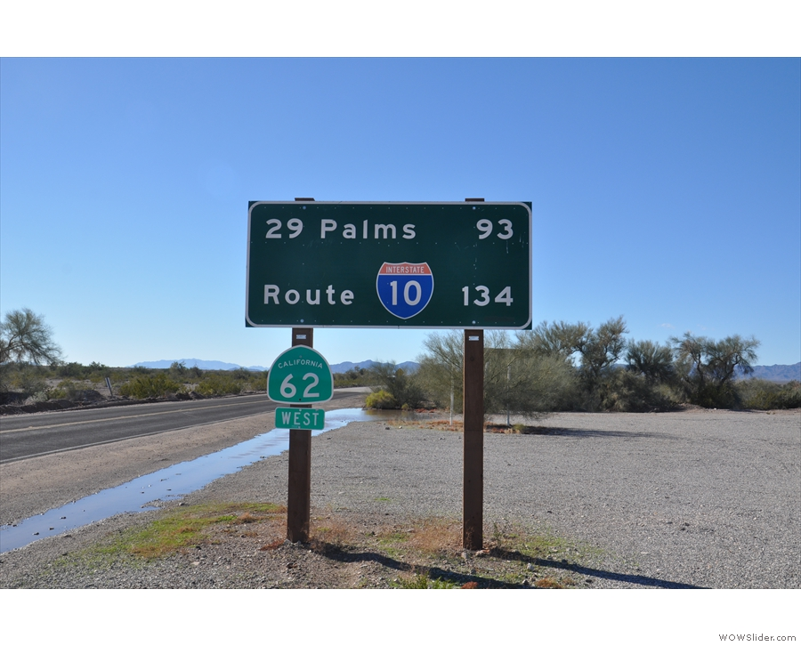 Not long after leaving Parker, I was in California, at Vidal Junction. Just 93 miles to go.
