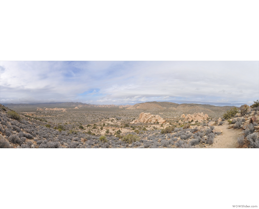 ... panoramic view looking north/northwest. The trailhead is on the right of the picture with the Hall of Horrors Area on the left.