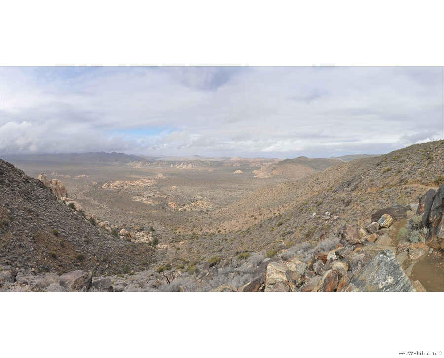 And here we are: a panoramic view from near the top of the valley, still looking north.