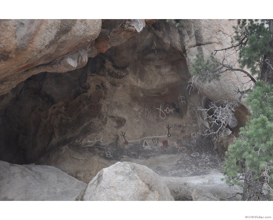 And there they are, petroglyphs carved into the back of the cave.
