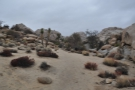 The path leads from the parking lot through boulders and scrub...