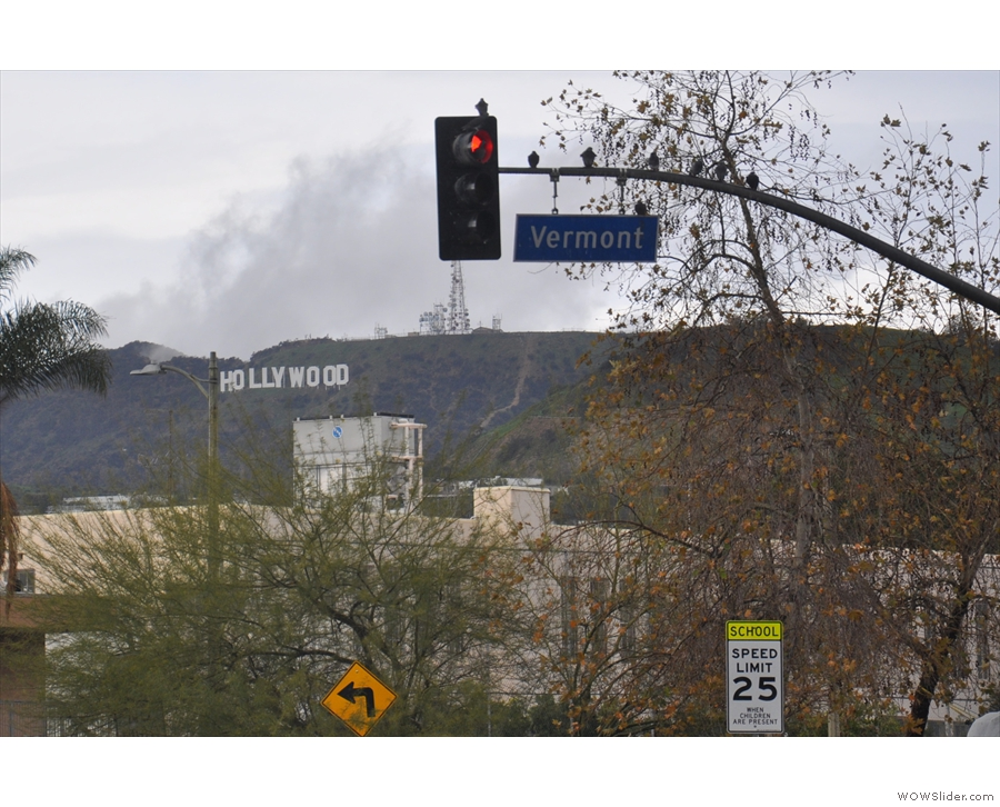 The famous Hollywood sign is clearly visible on the hills to the north.