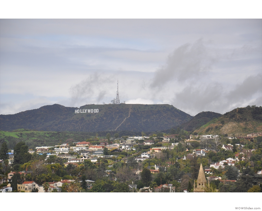 ... while, one hill over to the left, is the famous Hollywood sign.