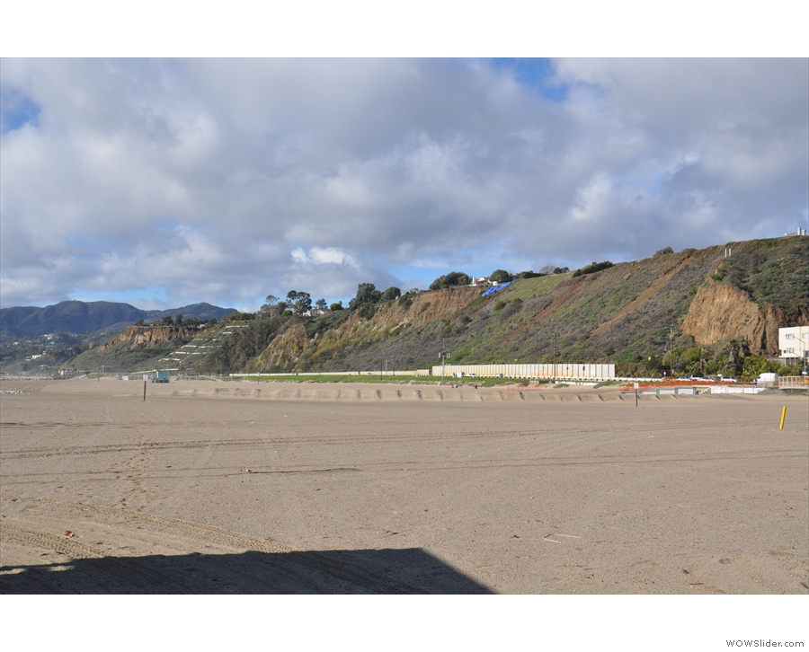 The hills behind the beach at the northern end of Santa Monica.