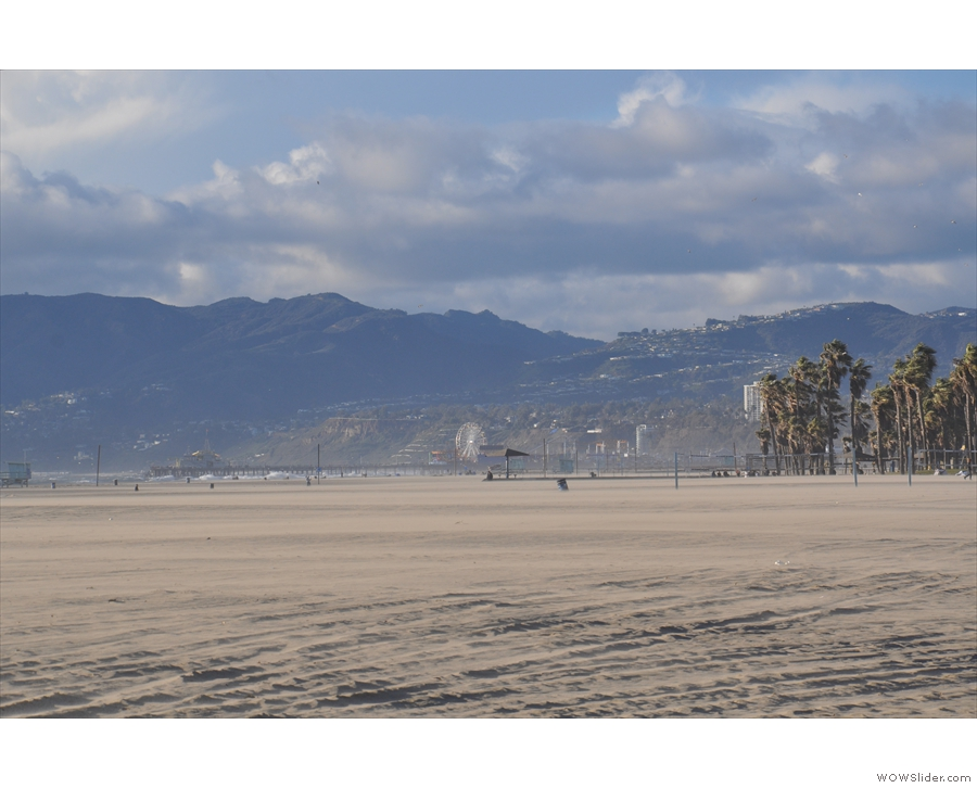 Santa Monica Pier again, this time seen from the south with mountains as a backdrop.