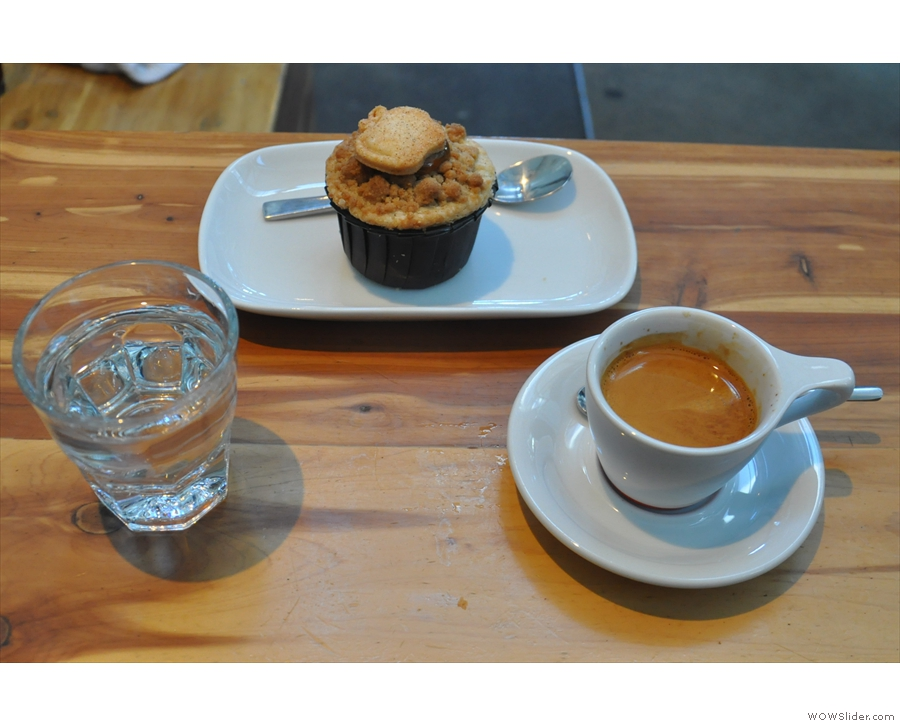 I ordered the single-origin espresso, served with a glass of water on the side...