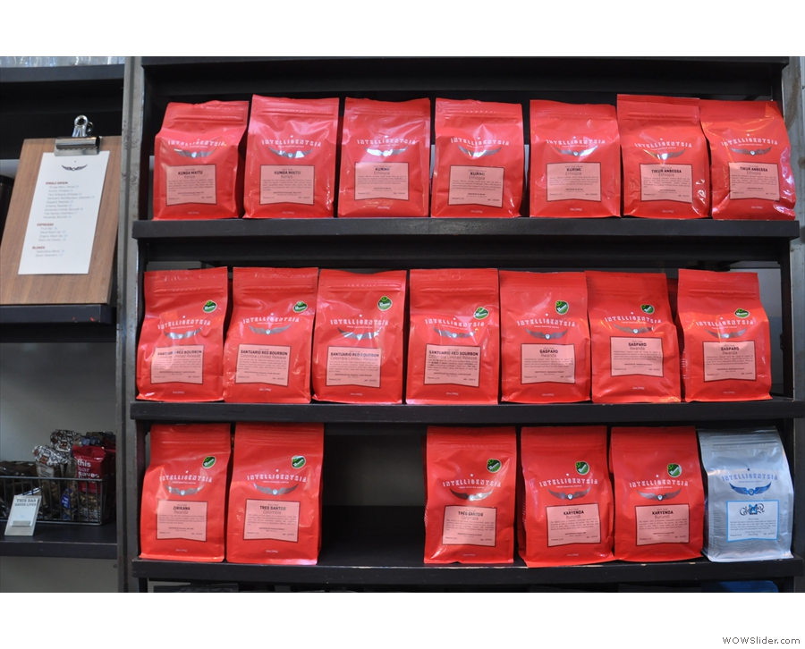 Naturally, you can buy retail bags of coffee, with the whole range on offer.