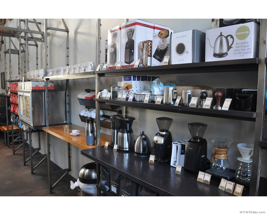 There's more retail, including coffee-making equipment, on the right...