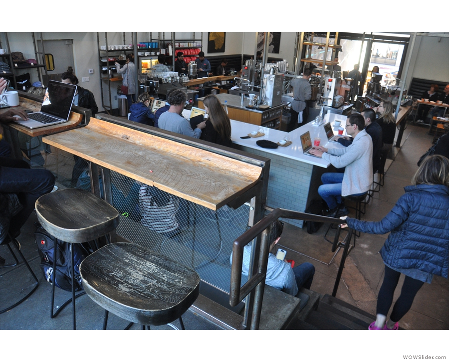 ... which has a row of five of these two-person tables overlooking Intelligentsia.