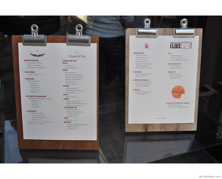 Meanwhile you'll find the price list for the drinks at the front. Plus the cake/pie list...