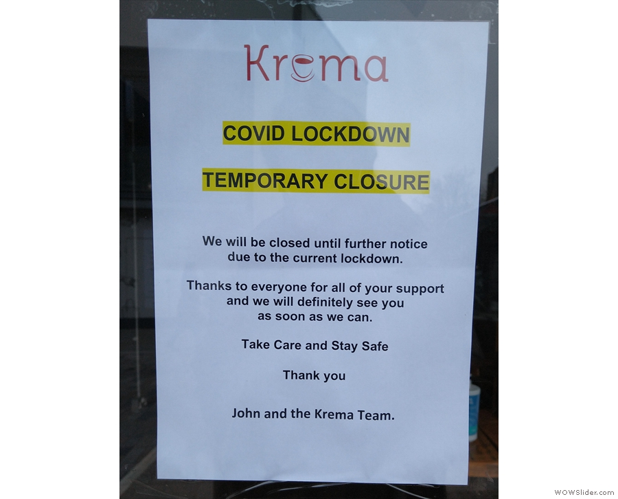 Sadly, due to the COVID-19 pandemic, Krema is temporarily closed.
