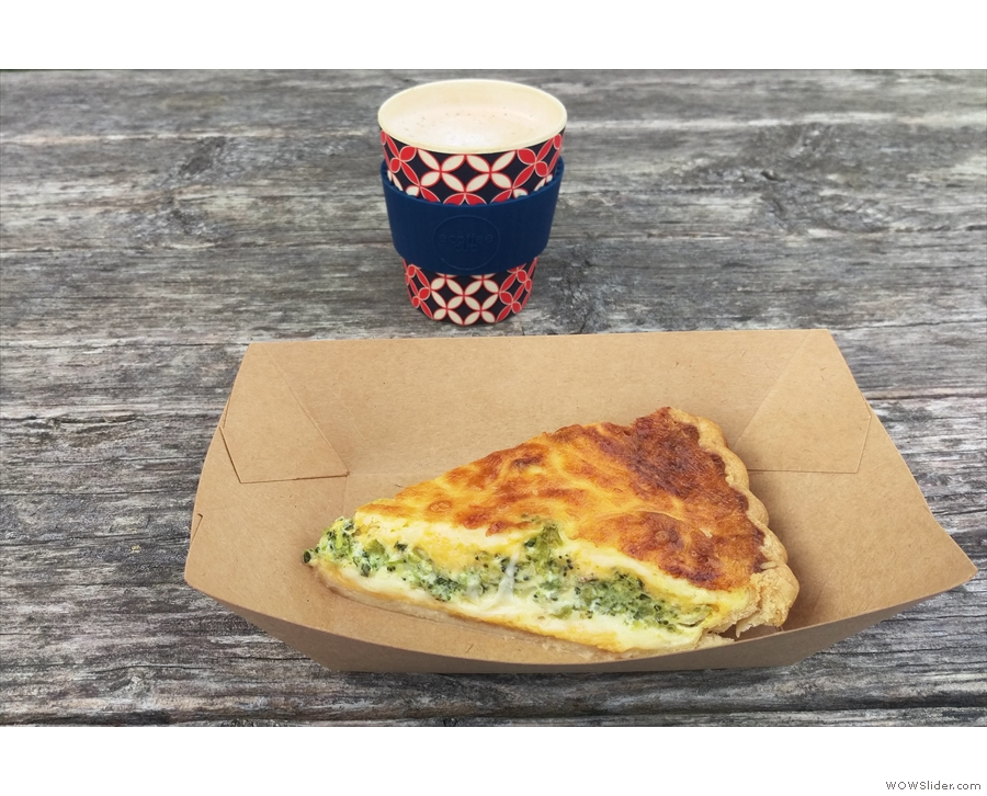 My coffee, a latte, and my lunch (spinach quiche).
