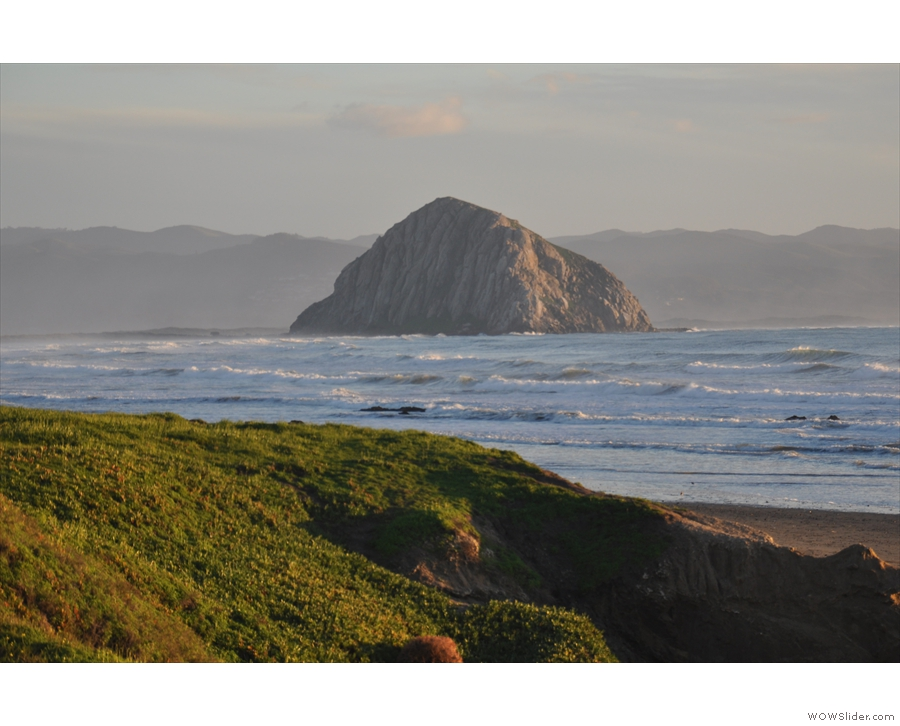 That's Morro Rock, a volcanic plug at the southern end of the bay.