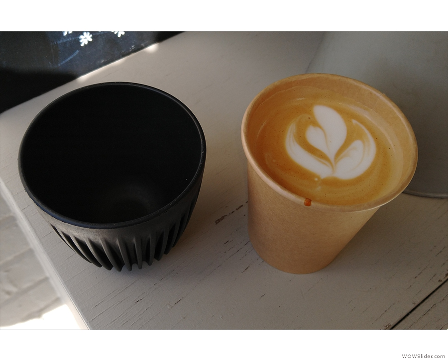 My flat white, made with the Los Altos, a Nicaraguan single-origin from Origin.