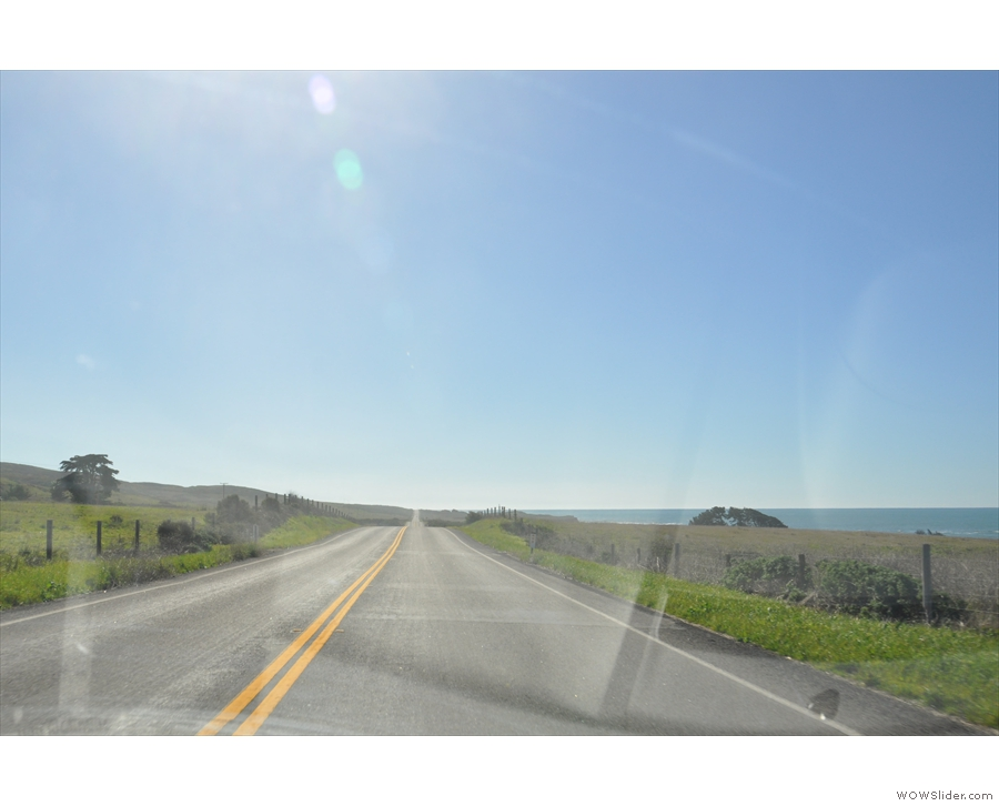 I've left the Big Sur behind now and the road is flat and straight, so I made good time...