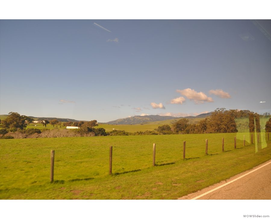 We're off on the 15-minute bus ride to Hearst Castle. The surrounding land is a ranch...