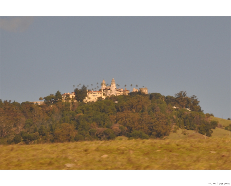 ... giving us a first view of Hearst Castle. The twin towers are part of the Casa Grande.