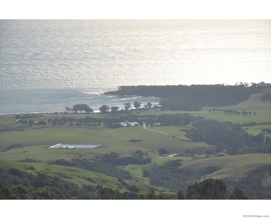 ... looking out over San Simeon Point. You can also just see San Simeon pier to the left.
