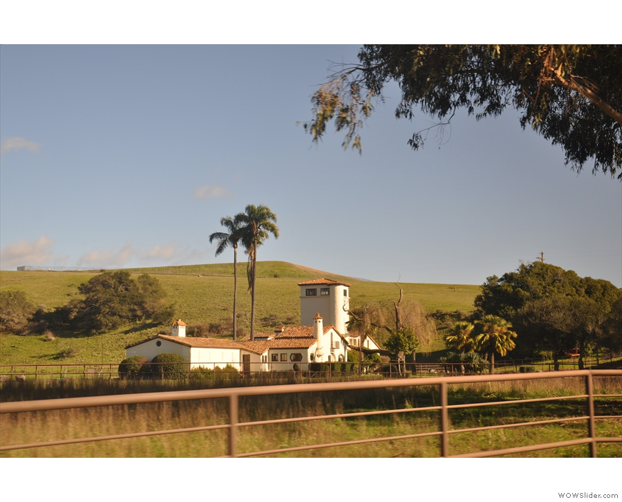 As the bus approaches the visitor centre, it goes past the farm buildings for the ranch.