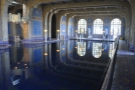The view from this end of the pool, looking back along its length.