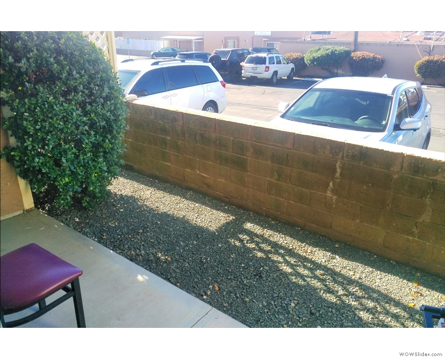 The view from the back door. The car park is just over that wall. More importantly...