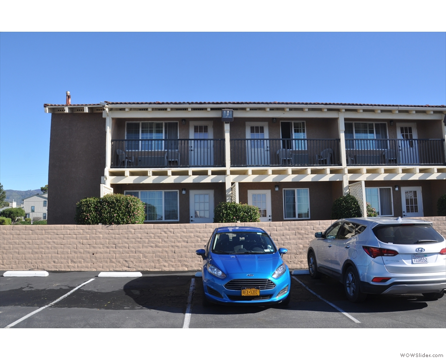 I had a ground floor room, second from the end. The blue car is mine, by the way.