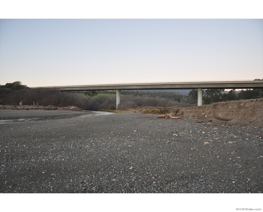 ... Pico Creek flows into the Pacific, the coastal highway crossing high above.