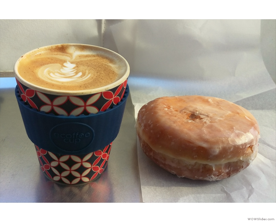 ... where my Ecoffee Cup and I had a cappuccino, with a doughnut as a lunch substitute!