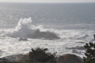 ... with the waves sending spray high into the air.