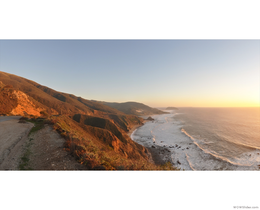 ... for another look back along the coast to the south, looking golden in the setting sun.