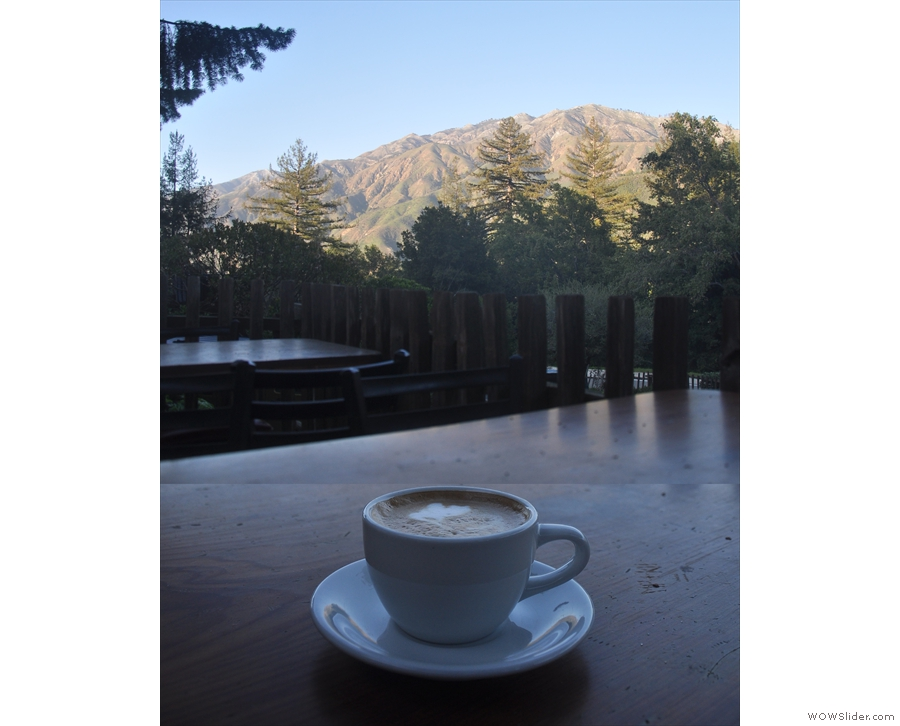 ... where my coffee and I admired the distant mountains.
