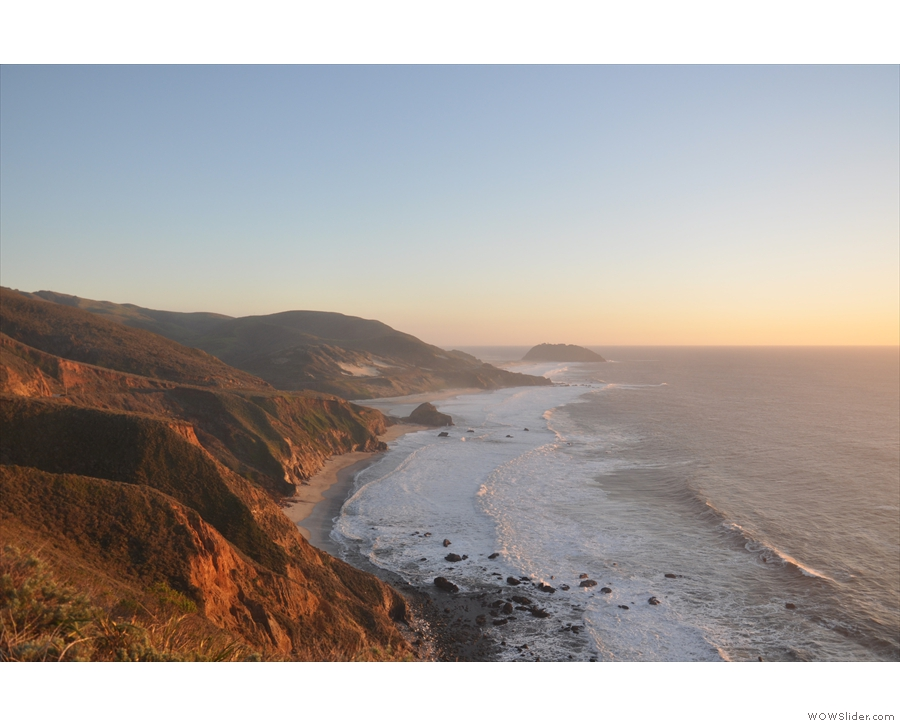 You can clearly see Point Sur in the far distance, while the notch on the left is Little Sur.