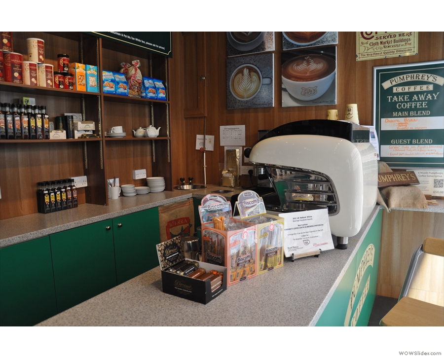 However, I am drawn to the espresso machine at the other end of the counter...