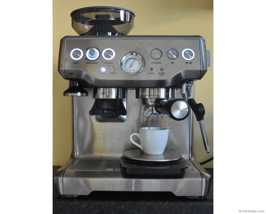 As the pressure shoots up, so the espresso starts to extract.