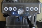 The Sage Barista Express, all lit up and ready to go.