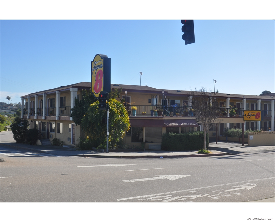 The Super 8 motel in Santa Cruz, my home for one night only.