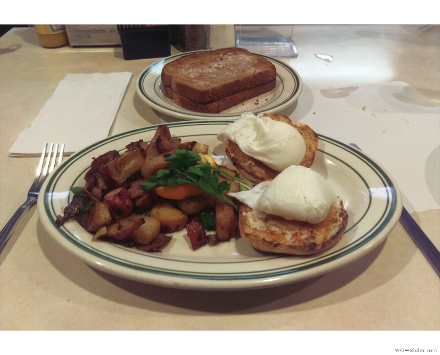 ... diner, where I had poached eggs on an English muffin, with potatoes and toast.