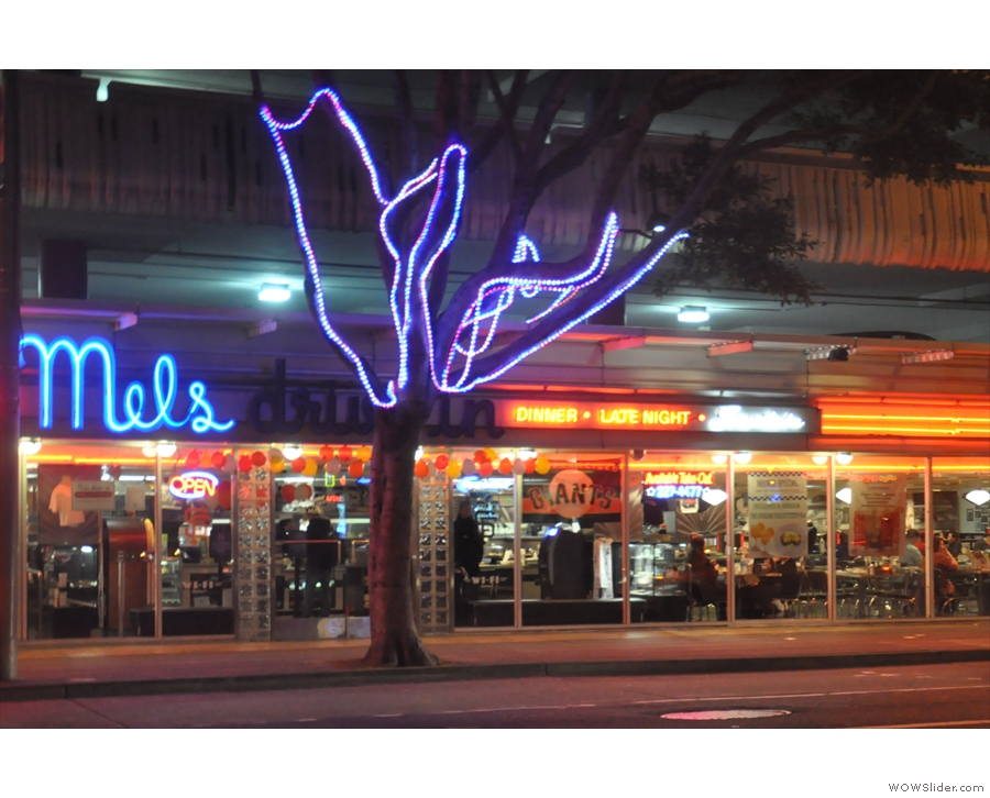 I'll leave with my dinner, which I had around the corner at Mel's Drive-in, a 24-hour...