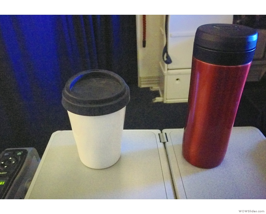 Then it's back to my seat with my Therma Cup to drink the coffee. A much better solution!