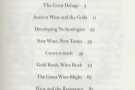 The Philosophy of Wine has a concise table of contents which fits on a single page.