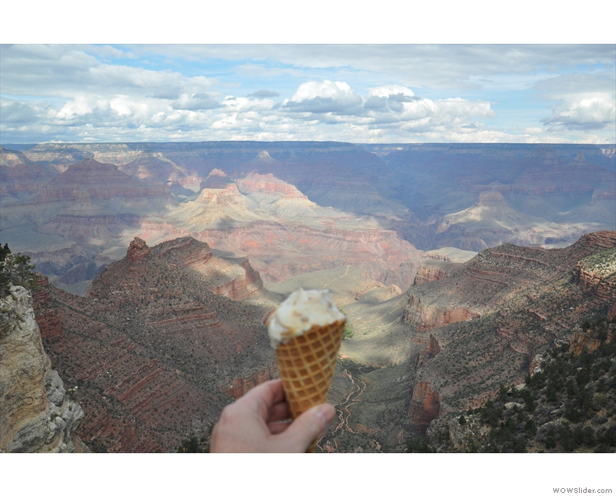 I stopped off for an ice cream, seen here overlooking the Bright Angel Trail.