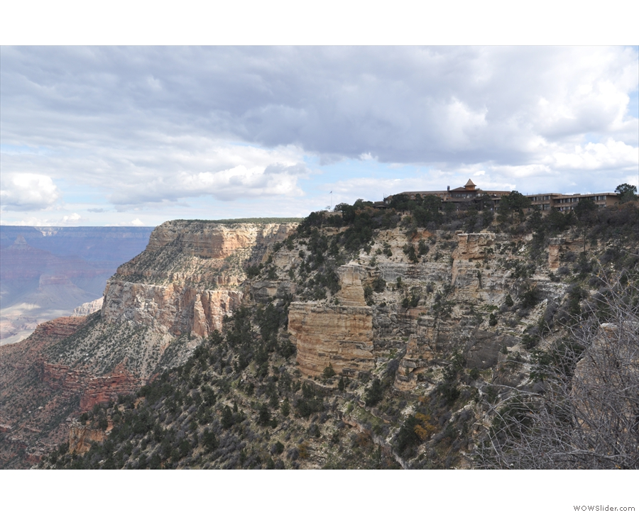 Looking back to where I started my short walk along the Rim Trail and the El Tovar Hotel.