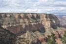From the Bright Angel Trailhead, the Rim Trail runs north along that massive butte.