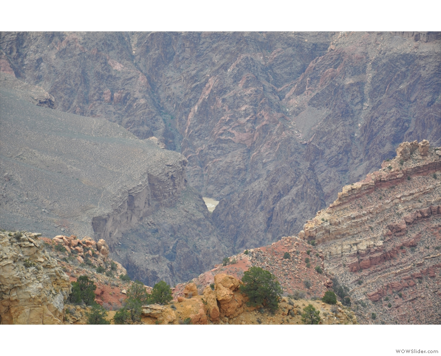 It is! My first view of the Colorado River, thundering along at the bottom of the canyon!