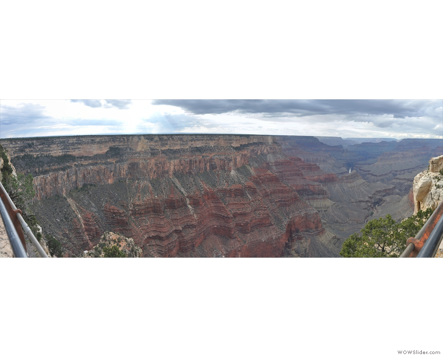 A panorama, looking northeast down Monument Creek Alley to the Grand Canyon beyond.
