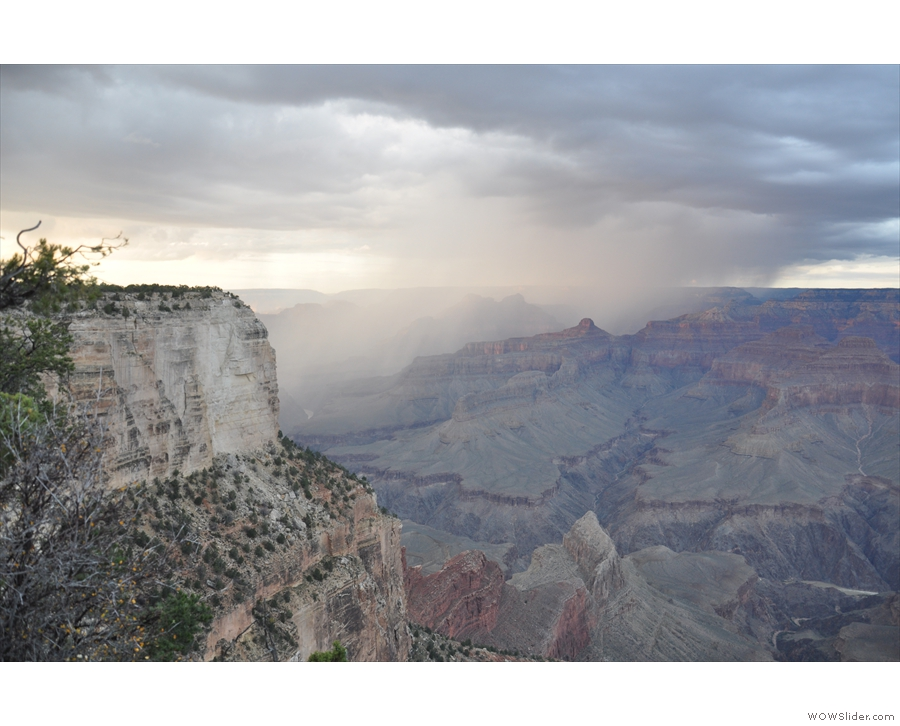 Looking to the left (west), there's more rain in the canyon.