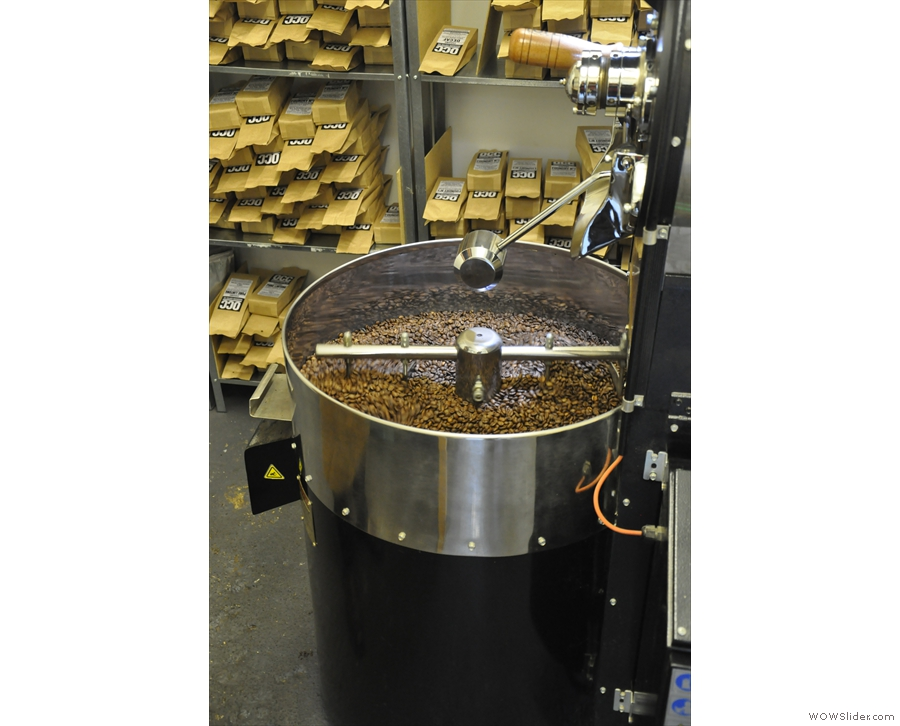 The idea is to cool the beans as quickly as possible to stop the roasting process.