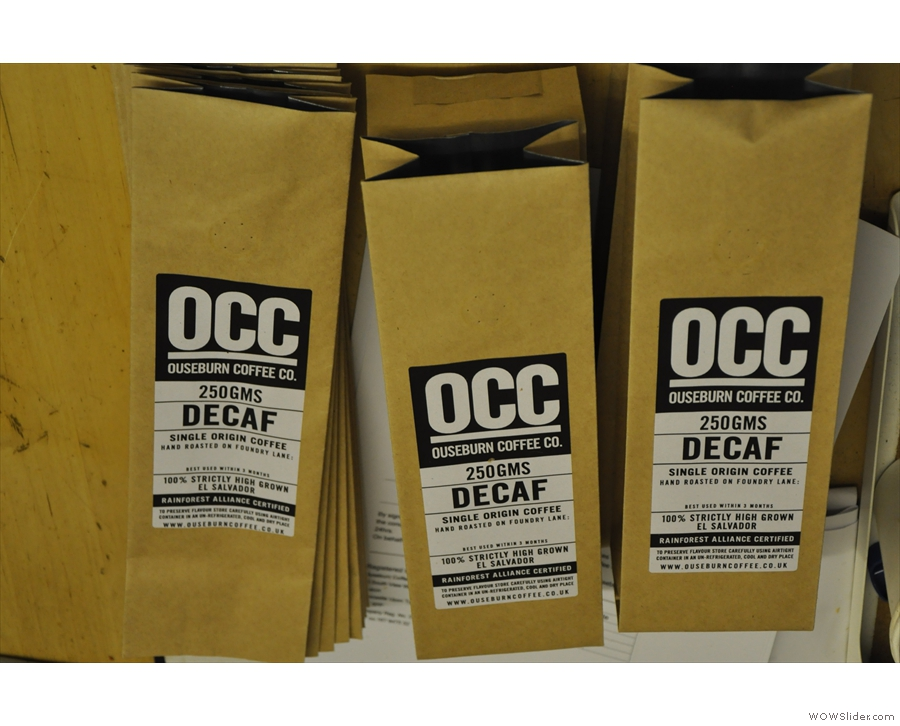 Talking of which, here are some empty decaf bags waiting to be filled...